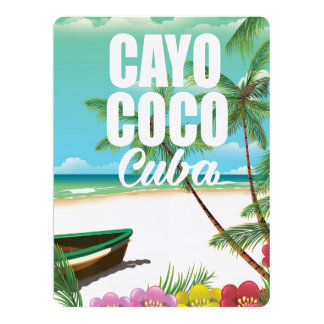 Cayo Coco Cuban beach vacation poster Card