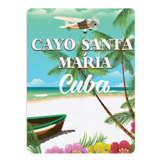 Cayo Santa María Cuban beach vacation poster Card