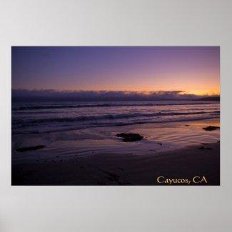 Cayucos, CA Beach Sunset Poster print