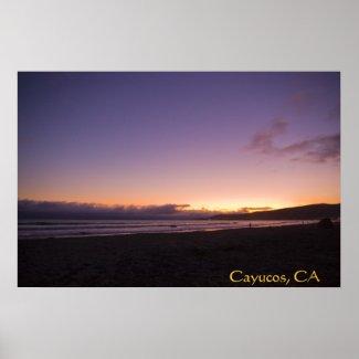 Cayucos, CA Beach Sunset Poster 2 print