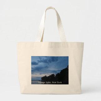 Cayuga Lake Blue Sunset Jumbo Tote Bag
