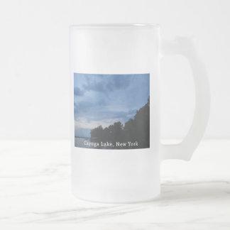 Cayuga Lake Blue Sunset Frosted Glass Beer Mug