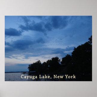 Cayuga Lake Blue Sunset Poster