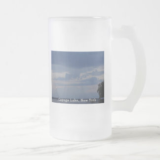 Cayuga Lake Cloudy Sky Frosted Glass Beer Mug