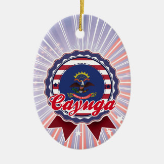 Cayuga, ND Double-Sided Oval Ceramic Christmas Ornament