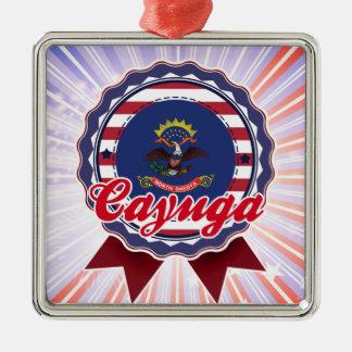 Cayuga, ND Square Metal Christmas Ornament