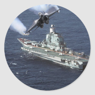 Caza a reacción sobre el barco de la Armada Pegatina Redonda