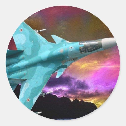 Caza a reacción supersónica de Sukhoi Su-47 (S-37) Pegatinas Redondas