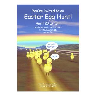 Caza amarilla del huevo de Pascua del camino del Invitación 12,7 X 17,8 Cm