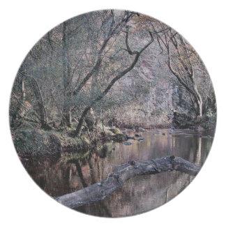 Caza Autunm .1. de Holne del dardo del río de Dart Platos De Comidas