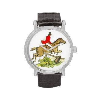 Caza de Fox del caballo del puente del cazador o p Relojes De Mano