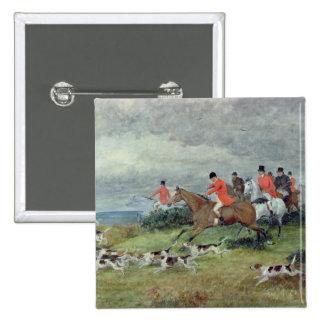 Caza de Fox en Surrey, siglo XIX Pin Cuadrado