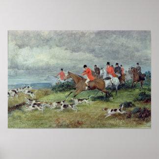 Caza de Fox en Surrey, siglo XIX Póster