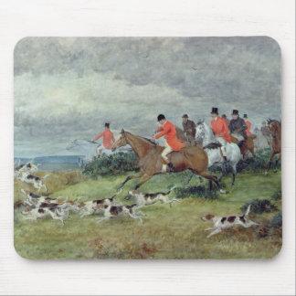 Caza de Fox en Surrey, siglo XIX Tapete De Ratón