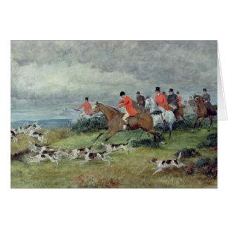 Caza de Fox en Surrey, siglo XIX Tarjeton