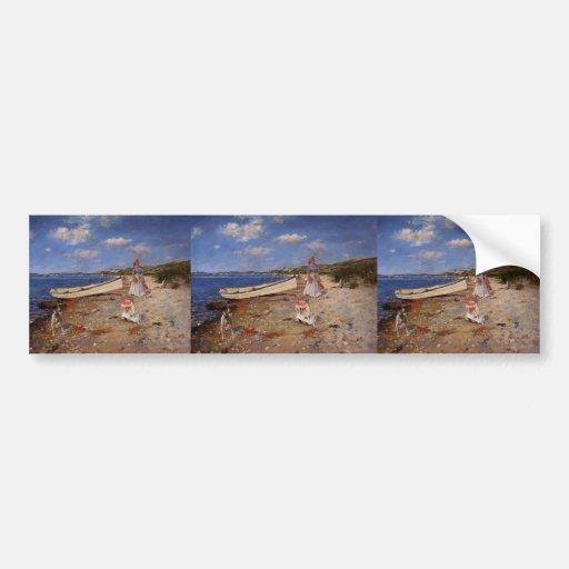 Caza de Guillermo al día soleado en la bahía de Sh Etiqueta De Parachoque