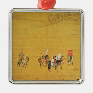 Caza de Kublai Khan, dinastía de Yuan Adorno Cuadrado Plateado