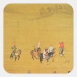 Caza de Kublai Khan, dinastía de Yuan Pegatina Cuadrada