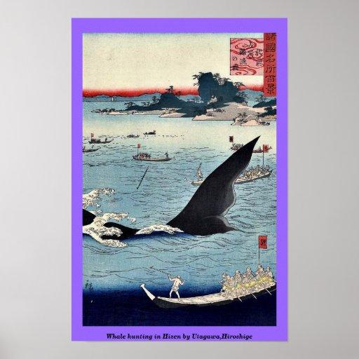 Caza de la ballena en Hizen por Utagawa, Hiroshige Poster