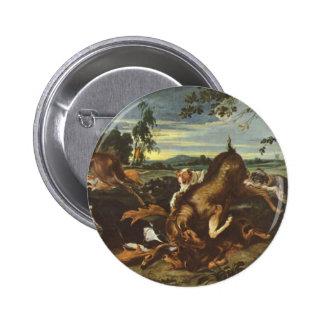 Caza de los ciervos de Francisco Snyders Pin Redondo De 2 Pulgadas