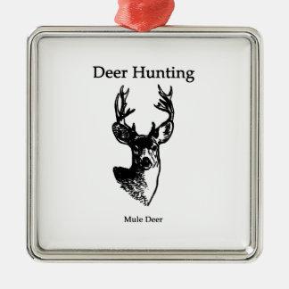 Caza de los ciervos (dólar del ciervo mula) adorno cuadrado plateado