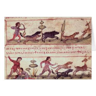 Caza de los ciervos tarjetón