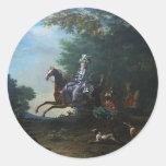 Caza de Marie Antonieta de Louis Auguste Brun Pegatina Redonda