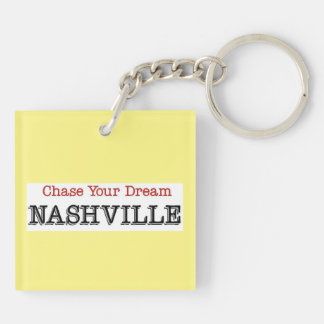Caza de Nashville su sueño Llavero Cuadrado Acrílico A Doble Cara