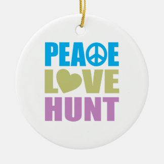 Caza del amor de la paz adornos de navidad