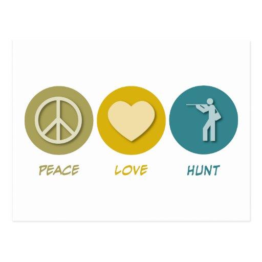 Caza del amor de la paz postales