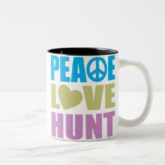 Caza del amor de la paz tazas