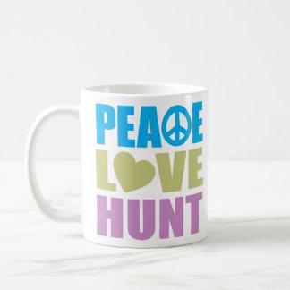 Caza del amor de la paz taza de café