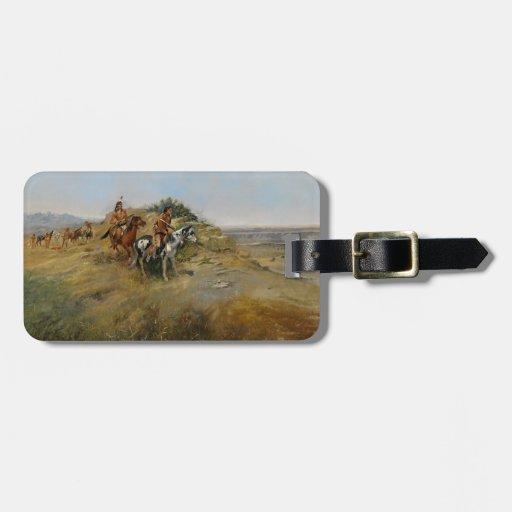 Caza del búfalo, 1891 (aceite en lona) etiquetas para maletas
