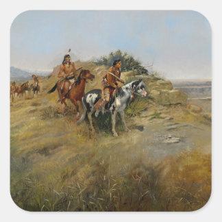 Caza del búfalo, 1891 (aceite en lona) colcomanias cuadradas personalizadas