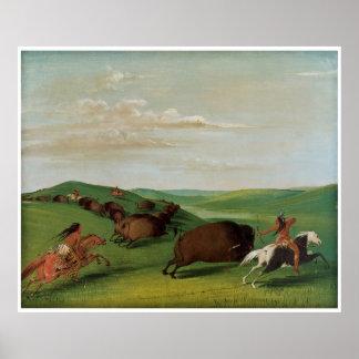 Caza del búfalo con los arcos y las lanzas por Cat Póster
