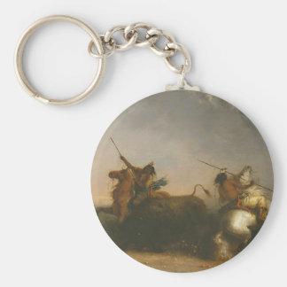 Caza del búfalo de Alfred Jacob Miller Llavero Redondo Tipo Pin
