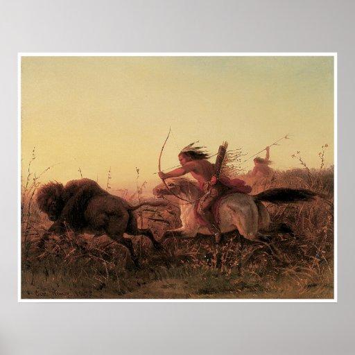 Caza del búfalo indio, Charles 1856 Wimar Póster