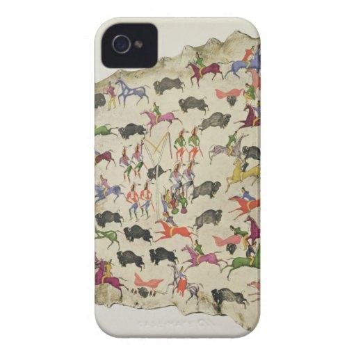 Caza del búfalo (pigmento en alce-piel) Case-Mate iPhone 4 funda