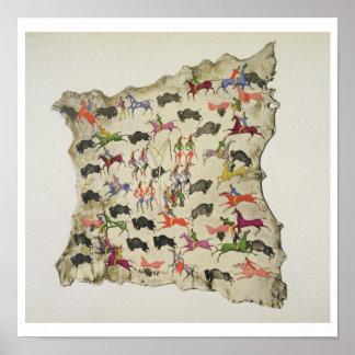 Caza del búfalo (pigmento en alce-piel) impresiones