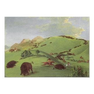 Caza del búfalo por Catlin, nativos americanos del