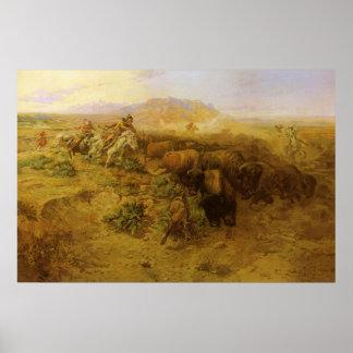 Caza del búfalo por cm Russell, indios del vintage Posters