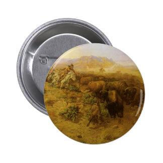 Caza del búfalo por cm Russell, indios del vintage Pin Redondo 5 Cm