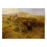 Caza del búfalo por cm Russell, indios del vintage Tarjetón