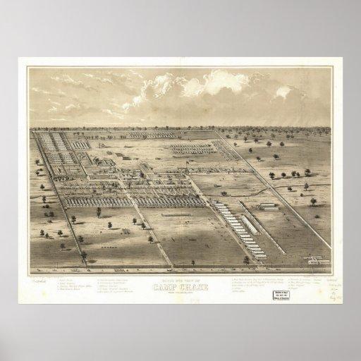 caza del campo de los 1860's, mapa panorámico de l póster