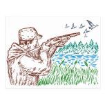 caza del cazador del pájaro del pato que apunta el postal