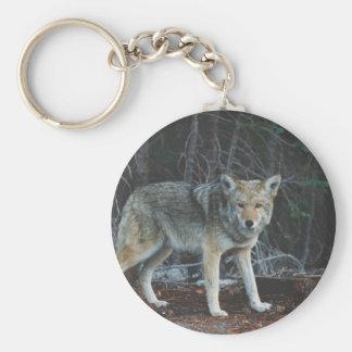 Caza del coyote llavero redondo tipo pin