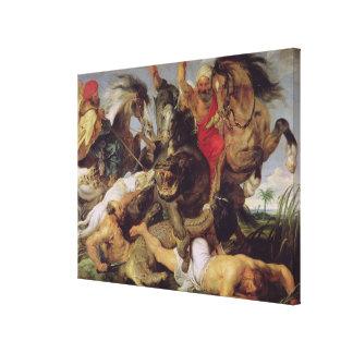 Caza del Hippopotamus y del cocodrilo, c.1615-16 Impresiones En Lienzo Estiradas