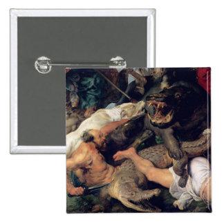 Caza del Hippopotamus y del cocodrilo, c.1615-16 Pin Cuadrado