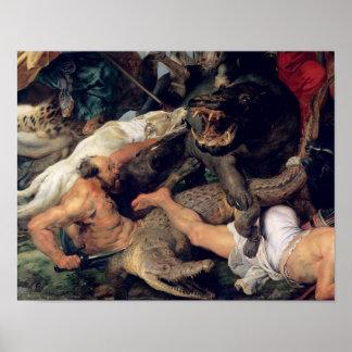 Caza del Hippopotamus y del cocodrilo, c.1615-16 Póster