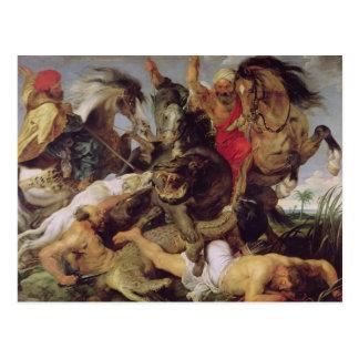 Caza del Hippopotamus y del cocodrilo, c.1615-16 Tarjeta Postal